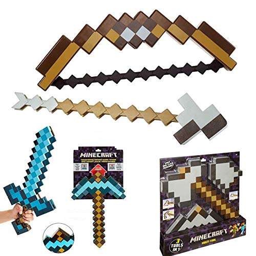 Toy Kinderspielzeug, Pixel Mosaic Pfeil- Und Bogen-Spielzeugset, Transforming Sword & Pickaxe Für Kinder, DREI-in-Eins-Pick, Schaufel Und Axt-Kombinationsspielzeug
