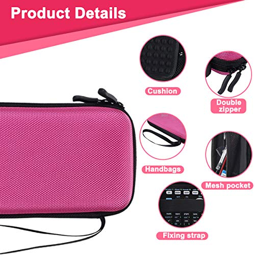 Xberstar Hard EVA Shockproof Carry Case Bag Pouch for Texas Instruments TI-84 Plus CE/Color TI-83 Plus,TI-89 Titanium, HP 50G Graphing, Scientific Financial Calculators (Pink) Photo #3