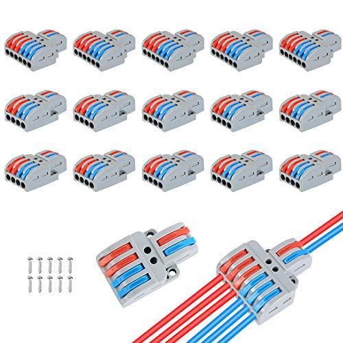 15 Stück Verbindungsklemme T Hahn Kabelverbinder ,Bauform für Verzweigung in Drähte Anschlusskabel erforderlich,Geeignet für eine Vielzahl von weichen und harten Drähten