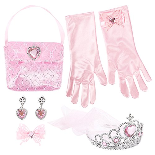 5-Pack Princess Dress Up Toys, Includes Princess Tiara, Hair Clip, Earrings, Gloves, Purse