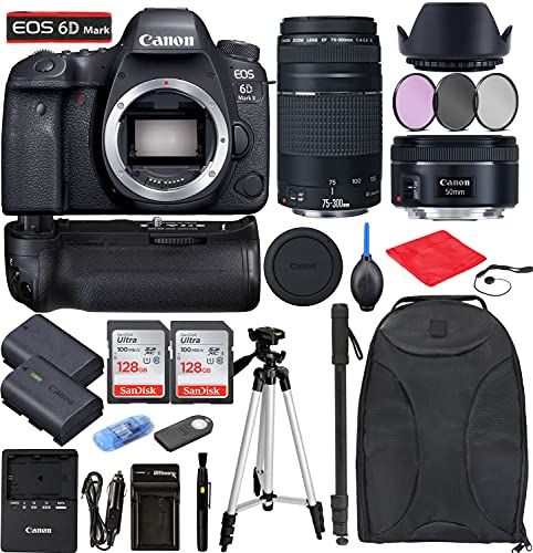 Canon EOS 6D Mark II DSLR Camera + EF 50mm f/1.8 STM + EF 75-300mm f/4-5.6 III Bundle with Accessories (256Gb Memory...
