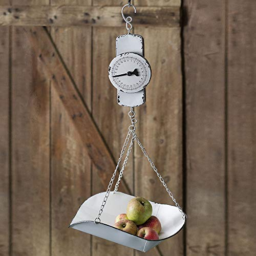CTW Home Collection 770199 Hanging Decorative Produce Kitchen Scale, 9-inch Width, Metal, White