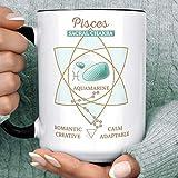 N\A Tazza da caffè con Segno Zodiacale Tratti dei Pesci | Tazza in Ceramica con Oroscopo Personalizzato in Cristallo Acquamarina Chakra sacrale | Lavabile in lavastoviglie a microonde