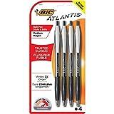 BIC Atlantis Original Retractable Ballpoint Pen, Medium Point (1.0mm), Black, 4-Count