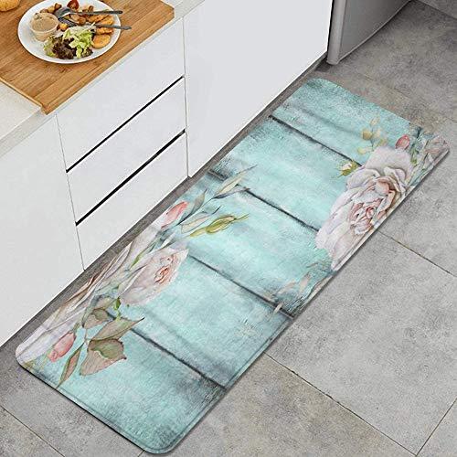 ALLMILL Tappeto da cucina, Rustico Shabby Country Chic Wood Rose,tappetino da cucina decorativo con supporto antiscivolo