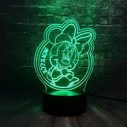Lampara Mesilla de Noche,Luz Nocturna LED,Lámpara de Mesa,7 colores Patrón Minnie Mouse,Luz del sueño Bebé,para cuarto de niños dormitorio decoración de la sala cumpleaños regalo