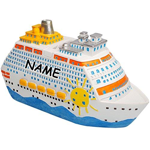 alles-meine.de GmbH große XL Spardose - 3-D Effekt _  Traumreise - Schiff / Kreuzfahrtschiff  - inkl. Name - stabile Sparbüchse - aus Kunstharz / Polyresin - Sparschwein - für ..