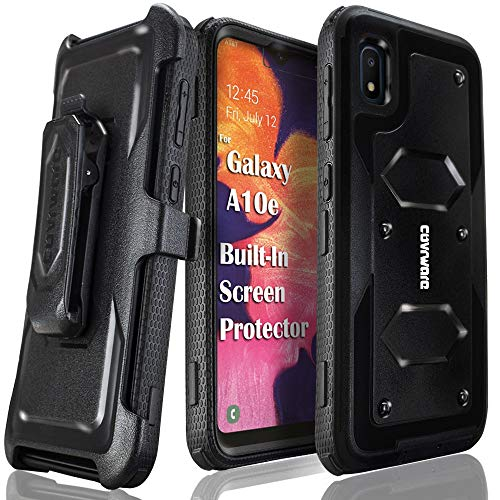 Samsung Galaxy A10e Case, COVRWARE [ Aegis Series ] with Built-in [Screen Protector] Heavy Duty Full-Body Rugged Holster Armor Case [Belt Swivel Clip][Kickstand], Black