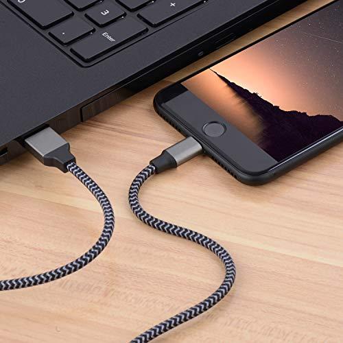 Everdigi iPhone Ladekabel 3 * 1M Zertifiziert Nylon Phone Kabel für iPhone XS/XS Max/XR/X/ 8/8 Plus/ 7/7 Plus/ 6s/ 6/6 Plus/ 5S/ 5(kohlschwarz)