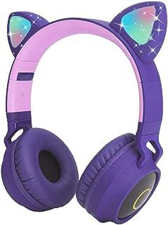 Usoun Kids Bluetooth Hoofdtelefoon, Kat Oor LED Licht Kind Draadloze Hoofdtelefoon met Microfoon, FM Radio/TF-kaart, Opvou...