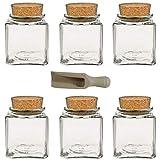 Viva Haushaltswaren - Tarros de Cristal (6 Unidades 200 ml tapón de Corcho para Especias Sal Hierbas etc. Incluye Pala pequeña de Madera de 75 cm)