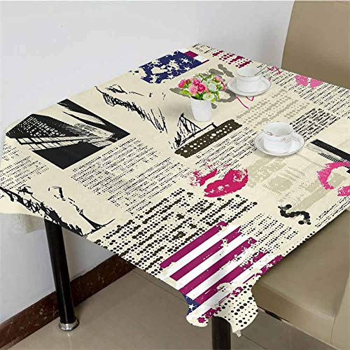 DRAGON VINES Tablecloth Rectangle Restaurant Tablecloth Newspaper New York with Sketchy Statue of Liberty and Texts Lipstick Vintage Kitchen Banquet Table Cover 70 x 70 inch