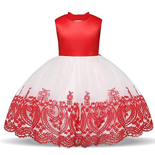 Laize 2019 Vestidos de princesa bordados nas costas com laço vazado para festa de casamento e baile de formatura, Vermelho, 4T