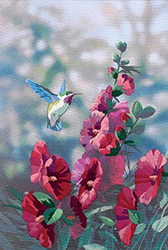 Dimensions 'Hollyhocks in Bloom' Embroidery Kit, 11'' x 16''