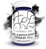 Nigella Sativa Extract Capsules | 200mg | 60 Count | Minimum 5% Thymoquinone Content | Black Seed Oil Extract | Supports Brain Health, Memory, Liver Health, and Immune Function | Nootropics Depot