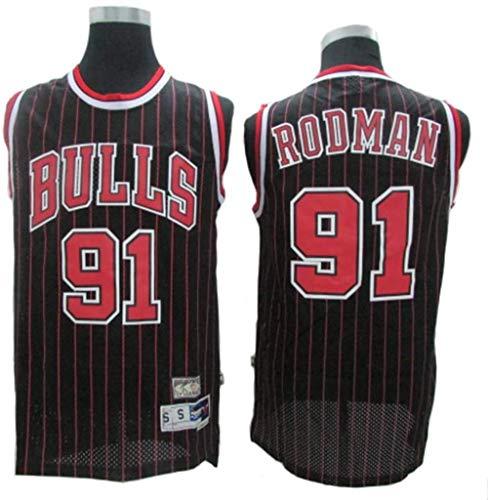 Uomo NBA di pallacanestro di sport Jersey Chicago Bulls # 91 Dennis Rodman traspirante Wear Resistant ricamato maglia della Pallacanestro swingman Jerseys Sport T-Shirt Maglie,B,L(175~180CM/75~85KG)