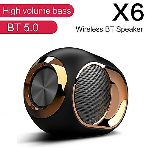 TCYYS-HIGH-END DRAHTLOSER Lautsprecher - 108 DB X6 Bluetooth-Lautsprecher Subwoofer Drahtlose TWS-Reihenschaltung TF-Karte Audio-Player Stereo-Sound (Schwarz)
