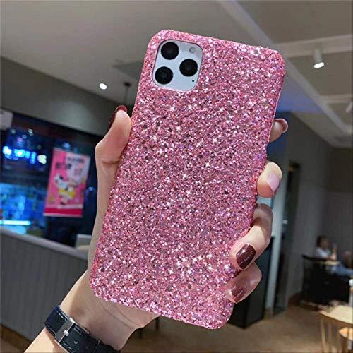 Caja del teléfono para iPhone 11 12 Pro MAX XR X XS Bling Glitter Shining Flash Carcasa Trasera Dura para Se 6 7 8 Plus Funda para iPhone 12 Pink