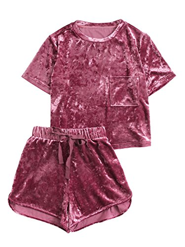 MakeMeChic Women's 2 Piece Outfits Velvet Crop Top Tee Shirt and Shorts Pajama Sets Bright red S