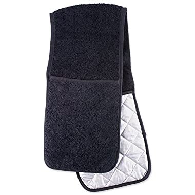 DII Cotton Long Terry Double Oven Mitt, 36  x7.5 , Machine Washable and Heat Resistant Baking Glove/Moppine for Kitchen Cooking and Baking-Black