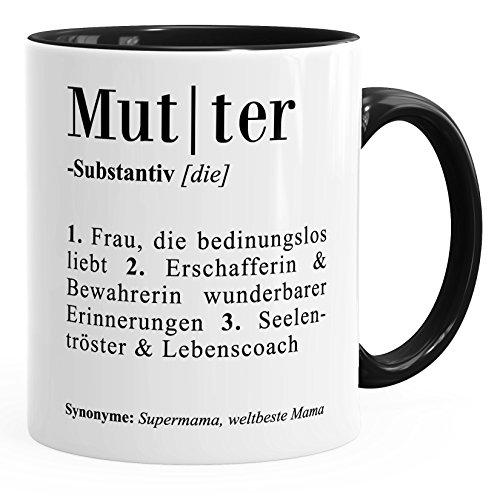 MoonWorks Kaffee-Tasse Definition Mutter Mama Duden Wörterbuch Dictionary Geschenk-Tasse Muttertag Muttertagsgeschenk Mama schwarz Unisize