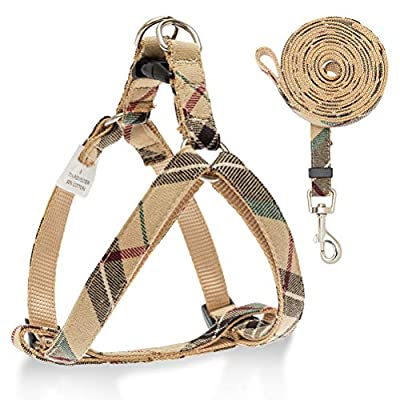SCIROKKO Dog Harness and Leash Set - No Pull Adjustable Plaid Dog Cat Basic Harness for Outdoor Walking Training
