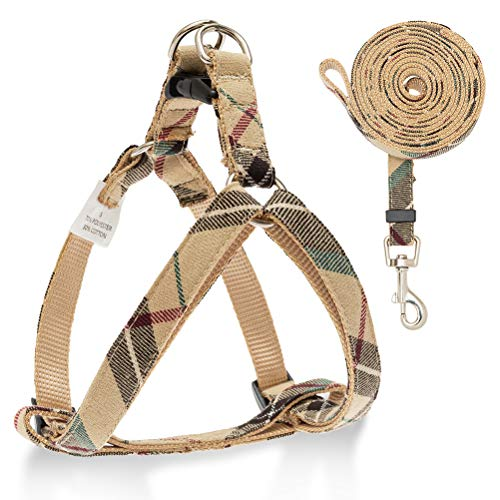 No Pull Dog Harness and Leash Set - Adjustable Plaid Step in Puppy Basic Harness for Small Medium Dogs Cats