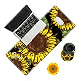 Desk Pad, Sunflower Laptop Desk Mat,Long Large Gaming Mouse Pad with Stitched Edges Non-Slip Writing Mat Desk Blotter Protector for Office Home (with Coaster & Sunflower Sticker)