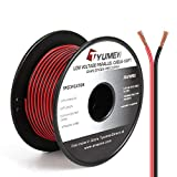 TYUMEN 100FT 20 Gauge 2pin 2 Color Red Black Cable Hookup Electrical Wire LED Strips Extension Wire, 20AWG OFC 12V/24V DC Extension Cable Wire Cord for Led Strips Single Color 3528 5050