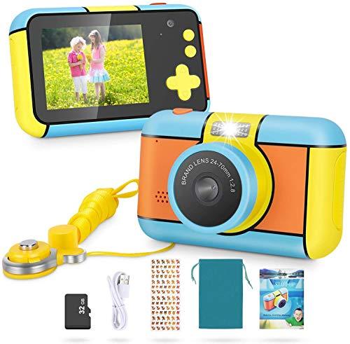 LLDKA Cámara Digital para niños Robust HD Cámara para niños HD Pantalla de Color de 2.4 Pulgadas de 24 m 1080p Cámara de Video 32 GB Tarjeta SD