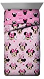 Disney Minnie Mouse Hearts N Love Full Comforter - Super Soft Kids Reversible Bedding - Fade Resistant Microfiber (Official Disney Product)