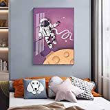 GEGEBIANHAOKAN Impresiones de Pared de Dibujos Animados Vía Láctea Cohetes astronautas Carteles Modernos Pintura Cuadro de Pared para Sala de Estar decoración de Dormitorio infantil-40x50cm sin Marco