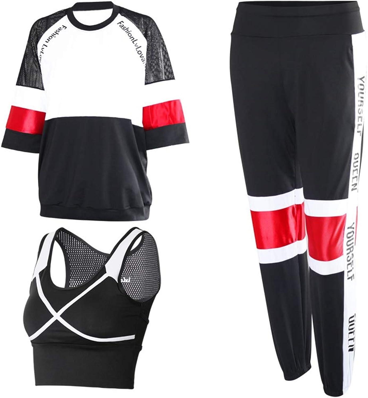 QIAO Frauen Sommer Yoga Kleidung, Farbabstimmung Mesh atmungsaktiv Laufsport schnell trocknende Kleidung, DREI Sport Yoga Kleidung (rot grün grau),B,M