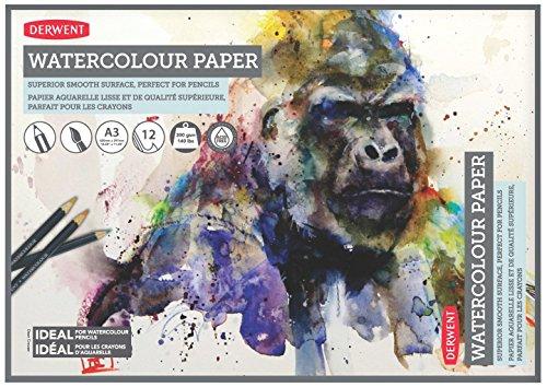 Derwent A3Aquarellpapier-Block, 12Blatt, weißes, säurefreies Papier, 300g/m² A3 mehrfarbig
