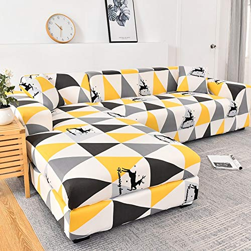 Funda de sofá elástica geométrica para Sala de Estar Funda de sofá de Esquina Funda de sofá en Forma de L Funda de sofá A14 3 plazas