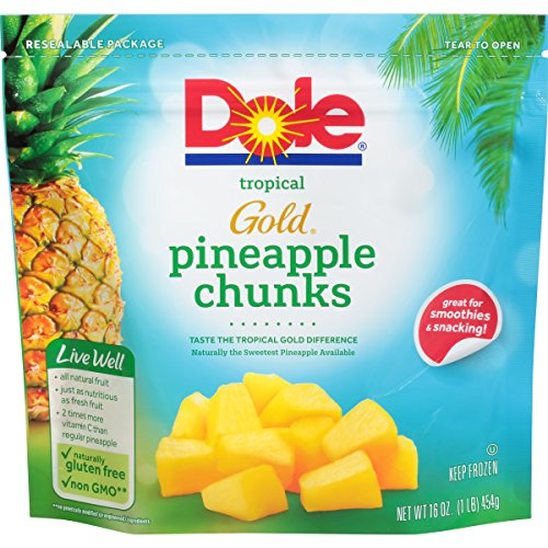 Dole Frozen, Tropical Gold Pineapple Chunks, 16oz