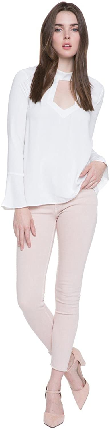 Endless pink Open Front and High Neck Top, White Top with Cut Out Below The High Neckline, Female, 100% Polyester