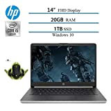 2020 Newest HP 14' Premium FHD IPS Laptop, 10th Gen i5-1035G4 (up to 3.7GHz, Beat i7-7500), 20GB RAM, 1TB SSD, HDMI, WiFi, Bluetooth, Windows 10 W/ Ghost Manta Gaming Mouse