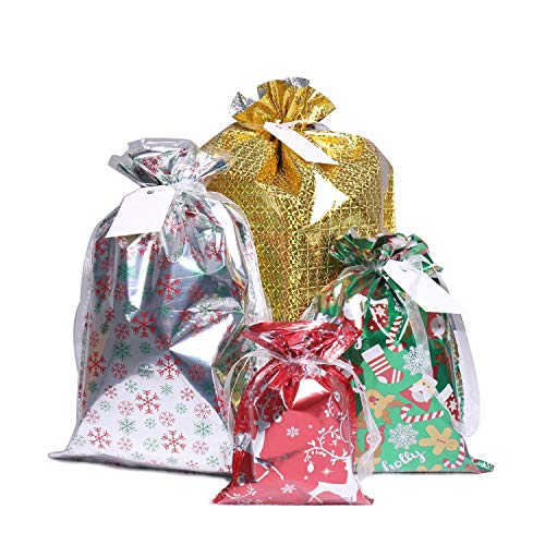 Christmas Bags,40Pcs Santa Wrapping Bag in 4 Sizes and 4 Designs with Inserted Drawstring Ribbons and Tags for Wrapping Holiday