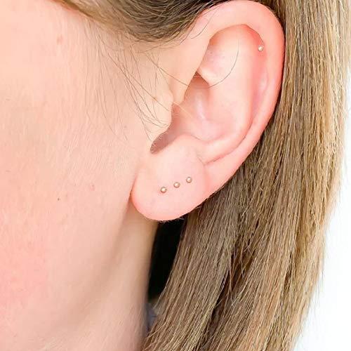Pendientes pequeños de 1,5 mm para mujeres y hombres de plata de ley 925 auténtica y linda redonda de color oro piercing de oreja fina joyería