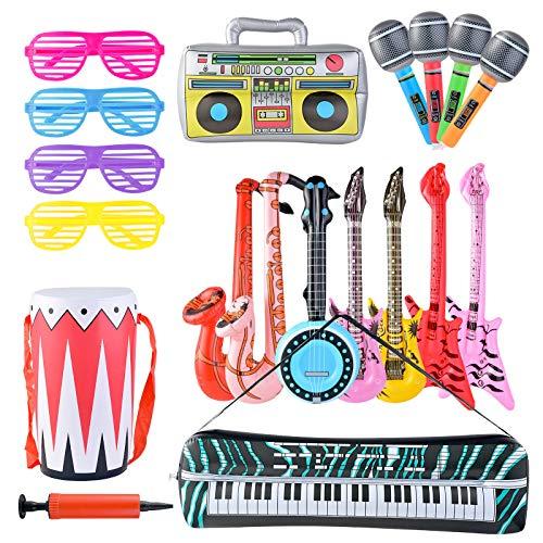 Pajaver Aufblasbare Rock Star Toy Set, Aufblasbare Party Props mit Luftpumpe, Aufblasbare Mikrofon Gitarre Saxophon Radio Elektronische Orgel Trommel Runde Klaviergitarre Gitarrenbass Brille