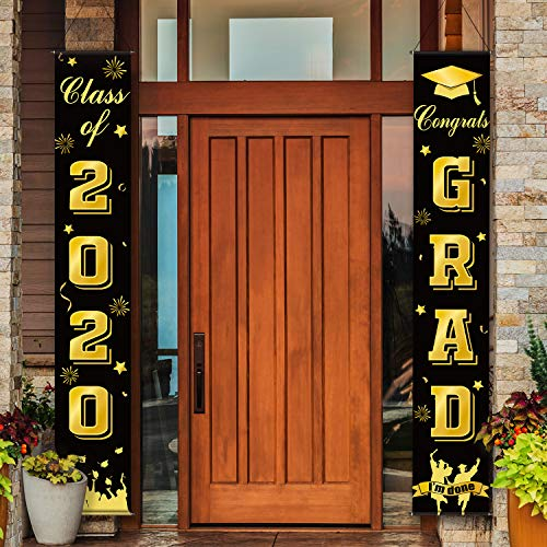 Graduation Porch Sign Class of 2020 Congrats Grad Decorations, Graduation Banners Party Backdrop Door Sign Welcome Hanging Decoration for Photo PoParty Wall Decoration Door Yard (Black)