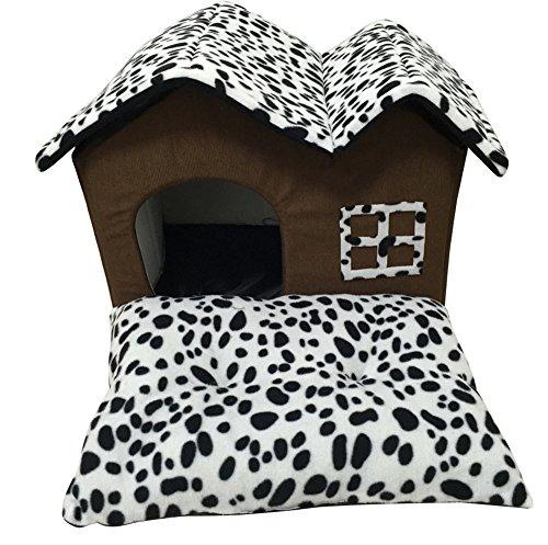 Hundehaus Haustierhaus Katzenbett mit Hundematte Samt Polyester 50x40x35 CM