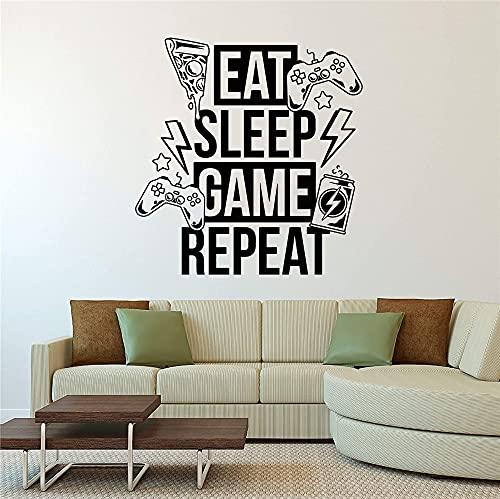 Eat Sleep Game Repeat Video Game Zone Gamer Logo Joystick Gamepad Etiqueta de la pared Calcomanía de vinilo Dormitorio de niño Sala de estar Sala de juegos Club Studio Decoración para el hogar Mu
