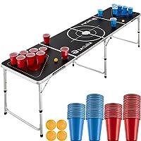 """""""C'EST À TOI DE BOIRE! """" : La table moderne de Beer Pong Spring Break tectake est idéale pour vos soirées entre amis. MONTAGE RAPIDE : Le jeu à boire transportable est prêt à l'emploi en quelques étapes et peut être réglé à deux hauteurs. MONTAGE RAP..."""