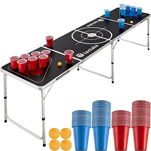 TecTake 403854 Bier Pong Tisch Set, inkl. 100 Becher (50 Rot & 50 Blau) + 6 Bälle, Beer Pong Table aus Aluminium, klappbar mit Tragegriffen, höhenverstellbar, für Partyspiele Trinkspiele Festivals
