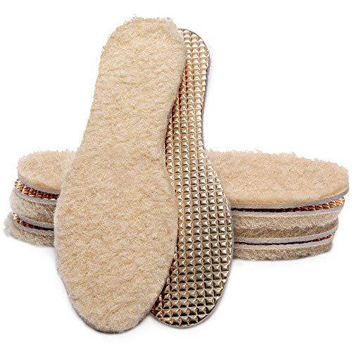Marol - Plantillas con lana de oveja, térmicas de invierno, para calzado de invierno, de aluminio con auténtica lana de oveja 100 % natural, talla 35a 46 39