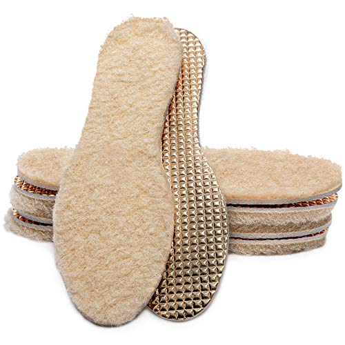 MAROL Einlegesohlen mit Schafwolle - Warme Isolierende Winter Schuheinlagen aus Wolle - Thermo Alu Schuheinlagen mit echter 100% natürlicher Schafswolle - Einlagen für Winterschuhe, Gr. 35-46 (39)