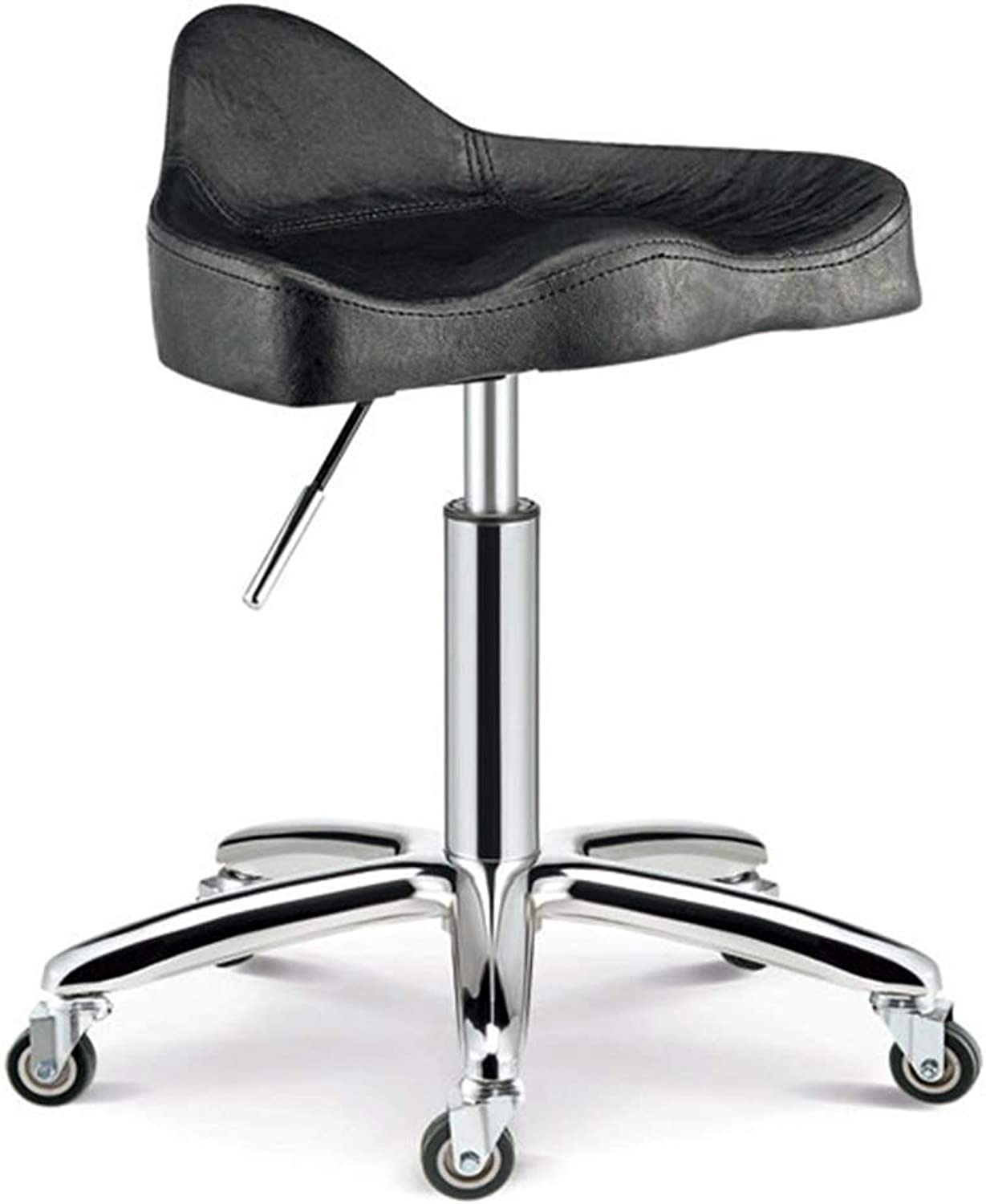 CAIJUN Bar Stool Stainless Steel Thick Sponge Waterproof Height Adjustable 360° redation Barber Chair, 4 colors Dual-use (color   Black, Size   40X60cm)