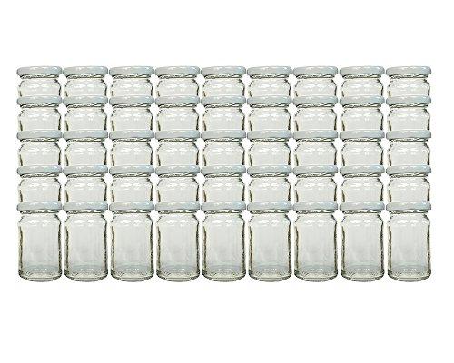 hocz 45 TLG Set Einmachgläser Füllmenge 107 ml Weiß | hitzebeständig zum einkochen Twist-Off Verschluss Marmeladengläser wiederverwendbar inkl Deckel (Weiß)
